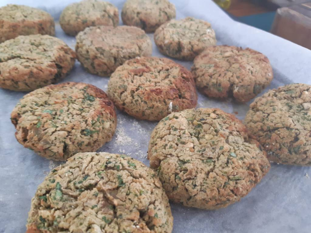 Baked chickpea and coriander falafels
