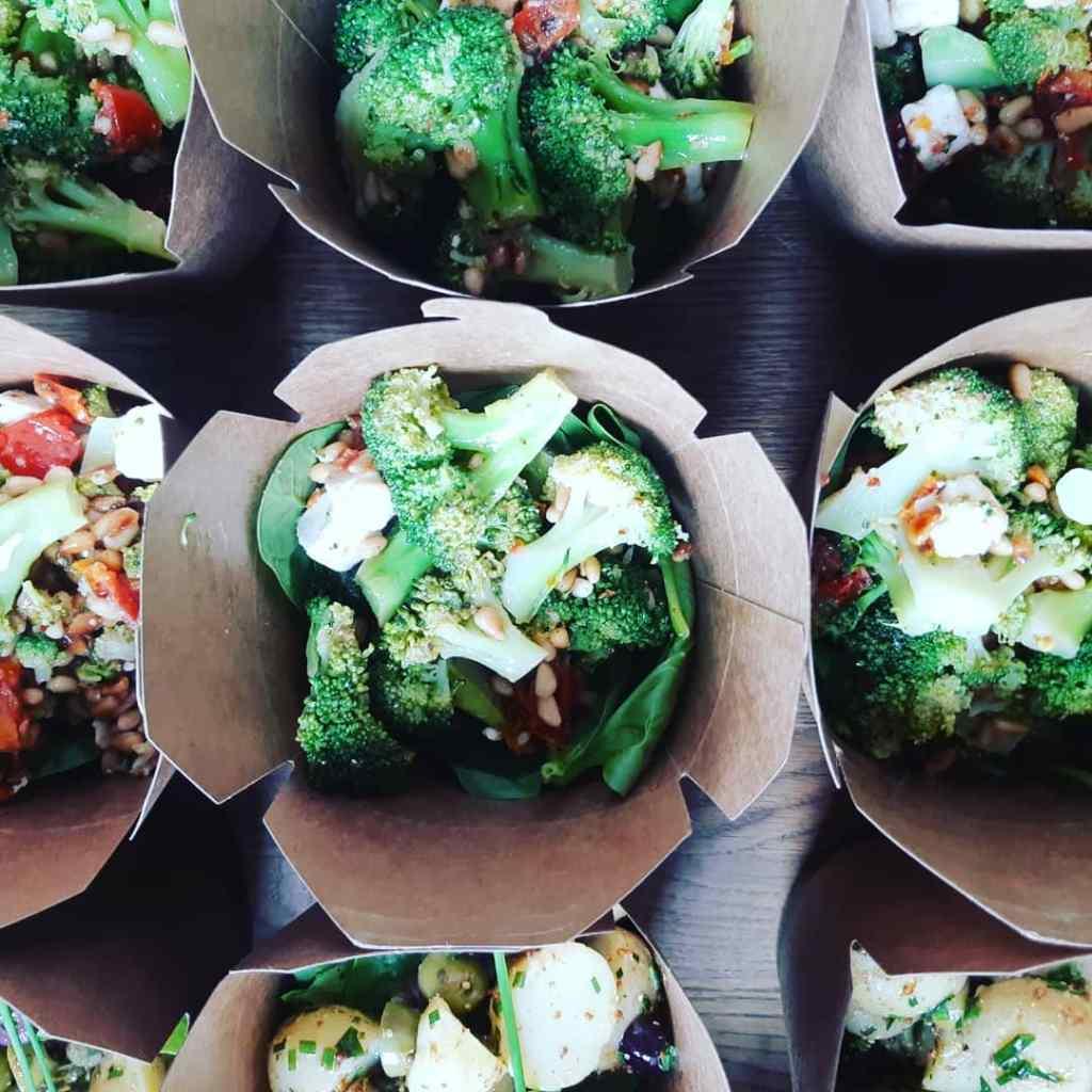 Broccoli, pine nut and feta salad